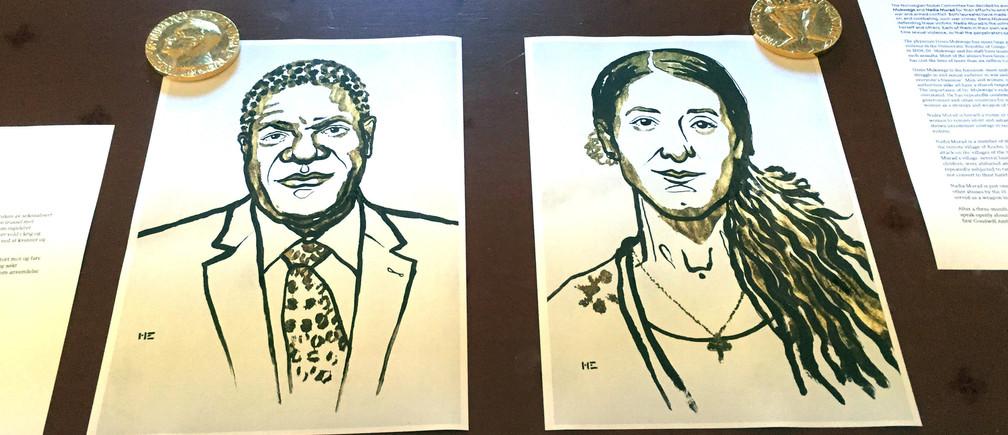Drawings of the Nobel Peace Prize winners Denis Mukwege and Nadia Murad are displayed in Oslo, Norway October 5, 2018. REUTERS/Nerijus Adomaitis - RC1ECA6897E0
