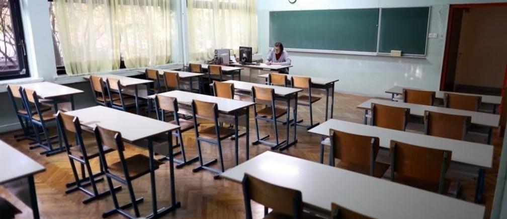 Teacher is seen in school during the teachers strike in Zagreb, Croatia, November 6,2019. REUTERS/Antonio Bronic - RC2N5D9NTAY6