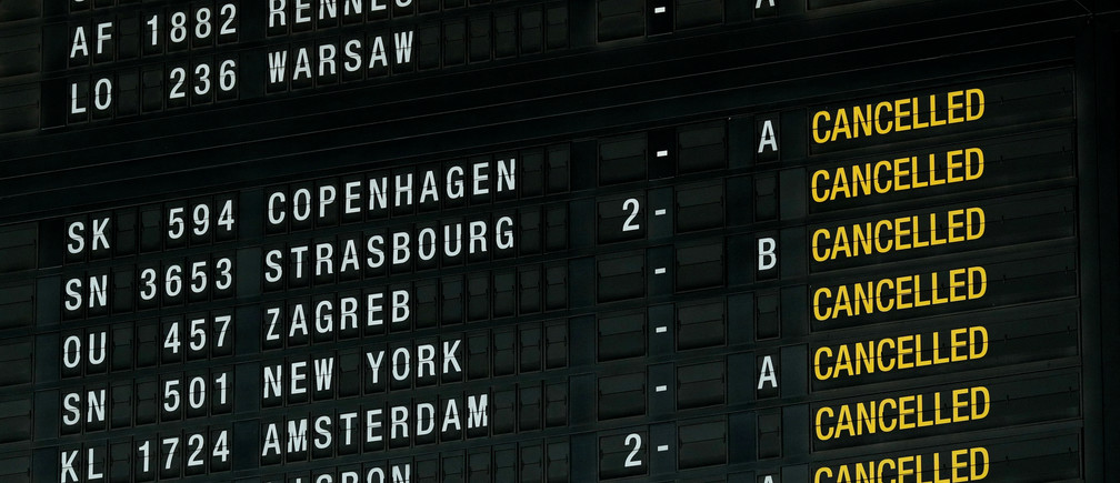 A flight information board displays cancelled flights during a strike by Belgian trade unions at Zaventem international airport near Brussels, Belgium, February 13, 2019.  REUTERS/Francois Lenoir - RC163A62AF10