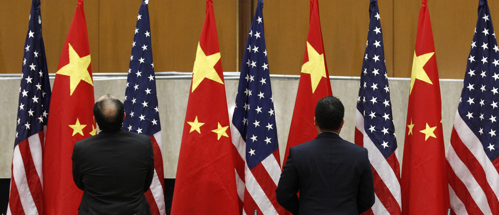Chinese and U.S. flags are arranged during the third annual U.S.-China Strategic and Economic Dialogue (S&ED) at the State Department in Washington May 9, 2011.