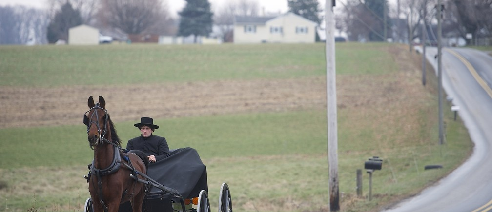 An Amish horse and buggy travels on a road in Bart Township, Pennsylvania December 1, 2013. On Oct. 2, 2006, Charles Roberts, 32, took 10 Amish girls hostage in their one-room schoolhouse in rural Pennsylvania, lined them up and shot them in the head. He then killed himself. Along with that, Terri Roberts herself became a victim, forced to confront life knowing that her son had committed such an atrocity. When the Amish forgave her son, it allowed Roberts, who is not Amish, to forgive him as well. Picture taken December 1, 2013.  REUTERS/Mark Makela (UNITED STATES - Tags: CRIME LAW SOCIETY) - GM1E9C60AGH01
