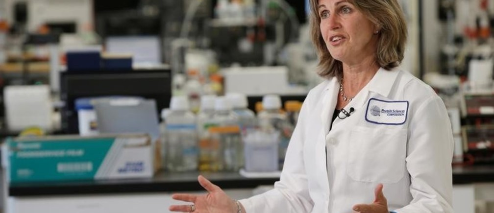 Protein Sciences Inc. President and CEO Manon Cox speaks during an interview with Reuters at a Protein Sciences Inc. research laboratory where they are working on developing a vaccine for the Zika virus based on production of recombinant variations of the E protein from the Zika virus at the Protein Sciences Inc. headquarters in Meriden, Connecticut, U.S.,  June 20, 2016. Picture taken June 20, 2016. REUTERS/Mike Segar - S1BEUEYZGVAA