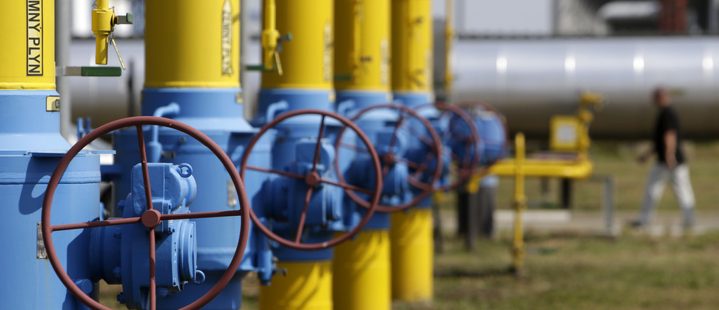 Valves and pipelines are seen at a gas compressor station on the Slovakia-Ukraine border in Velke Kapusany September 2, 2014. Ukraine had begun test imports of gas from Slovakia in August via an upgraded pipeline, as the country tries to secure greater energy independence from Russia.           REUTERS/David W Cerny (SLOVAKIA - Tags: BUSINESS POLITICS ENERGY) - RTR44NF9