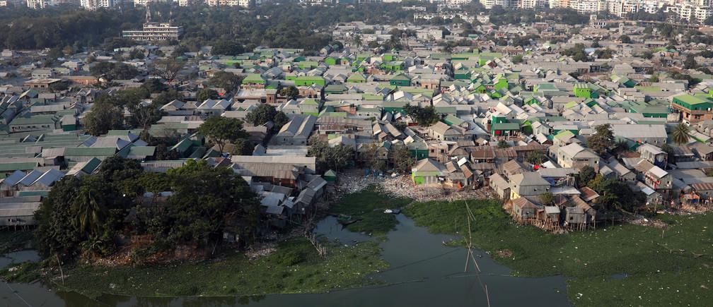 An aerial view of the Korail slum in Dhaka, Bangladesh