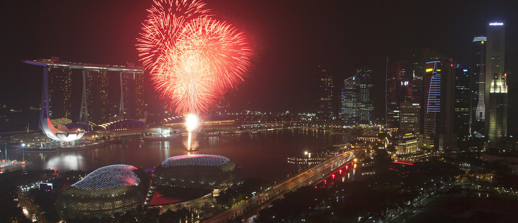 Fireworks explode over Marina Bay and the Esplanade Theatres during a pyrotechnics show to celebrate the Lunar New Year in Singapore February 3, 2011. The Lunar New Year begins on Thursday and marks the start of the Year of the Rabbit, according to the Chinese zodiac.