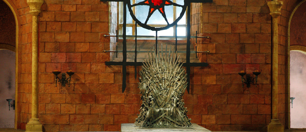 The Iron Throne is seen on the set of the television series Game of Thrones in the Titanic Quarter of Belfast, Northern Ireland, Picture taken June 24, 2014. REUTERS/Phil Noble - RC1D28BE8000