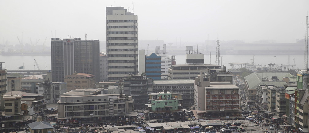 A view of the central business district seen from a rooftop in Lagos February 4, 2016