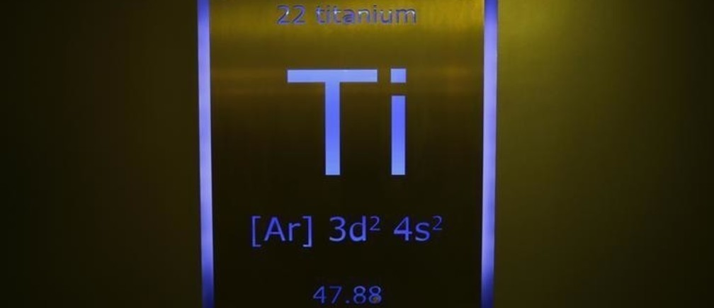 A sign showing titanium on the periodic table of elements is seen at the Nobel Biocare manufacturing facility in Yorba Linda, California May 16, 2013. Nobel Biocare Holding AG is trying to regain its initial success after seeing its profits and image hit in recent years, as many European consumers stopped spending on cosmetic dentistry during the financial crisis and rivals pushed ahead with cheaper options. Picture taken May 16. To match story NOBELBIOCARE-TURNAROUND/                         REUTERS/Mike Blake  (UNITED STATES - Tags: SCIENCE TECHNOLOGY HEALTH BUSINESS)