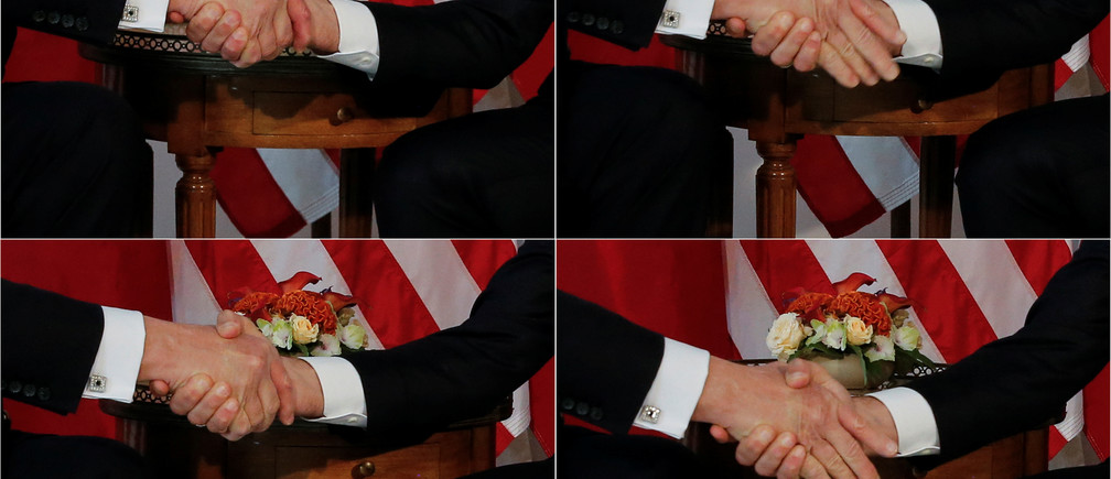 A combination photo shows U.S. President Donald Trump (L) trying twice to let go of a handshake with France's President Emmanuel Macron (R) as Macron holds tight, before a working lunch ahead of a NATO Summit in Brussels, Belgium, May 25, 2017.  REUTERS/Jonathan Ernst     TPX IMAGES OF THE DAY - RC18F0B65C10