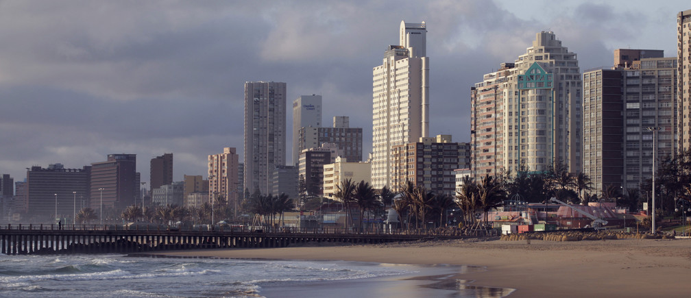 Durban's skyline on the beach front, October 31, 2009. Durban is one of nine South African cities hosting the 2010 Fifa Soccer World Cup. REUTERS/Rogan Ward (SOUTH AFRICA SPORT SOCCER) - RTXQC02