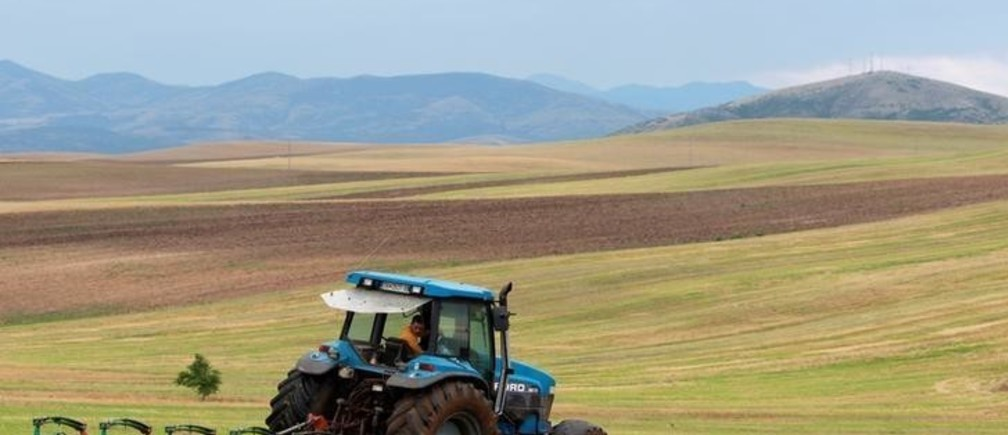 A farmer uses a tractor to plough a field near city of Veles, Macedonia July 9, 2018.REUTERS/Ognen Teofilovski