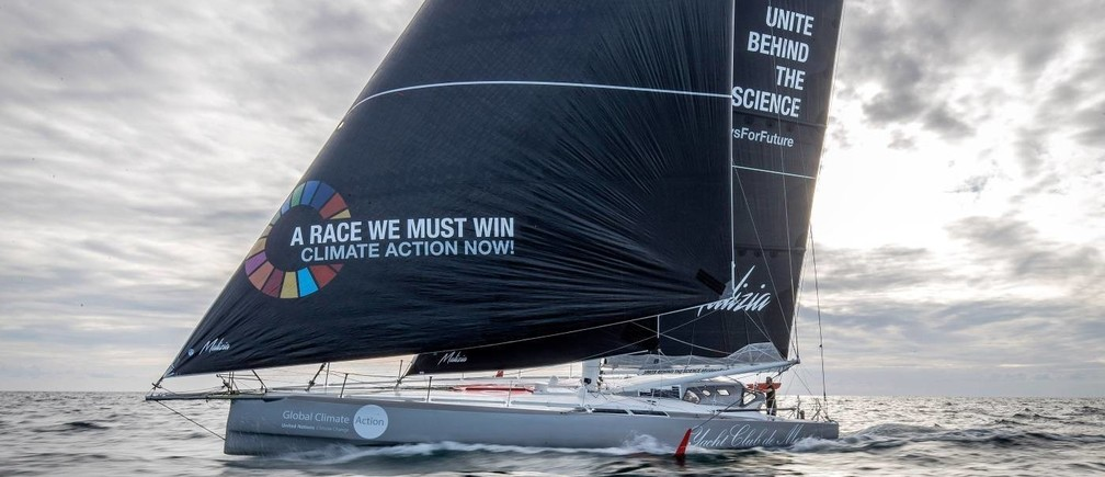 The Malizia II sailboat on which Greta Thunberg plans to sail from Britain to the United States. HANDOUT/Team Malizia/Andreas Lindlahr