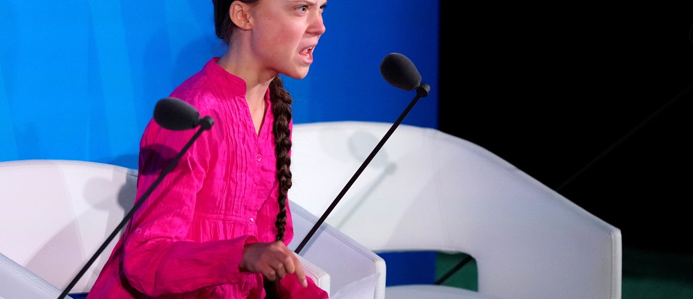 16-year-old Swedish Climate activist Greta Thunberg speaks at the 2019 United Nations Climate Action Summit at U.N. headquarters in New York City, New York, U.S., September 23, 2019. REUTERS/Carlo Allegri     TPX IMAGES OF THE DAY - HP1EF9N1574UW