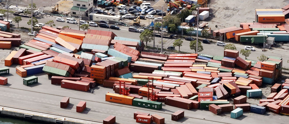 Containers damaged by Typhoon Jebi are seen in Kobe, western Japan,in this photo taken by Kyodo September 5, 2018. Mandatory credit Kyodo/via REUTERS ATTENTION EDITORS - THIS IMAGE WAS PROVIDED BY A THIRD PARTY. MANDATORY CREDIT. JAPAN OUT. NO COMMERCIAL OR EDITORIAL SALES IN JAPAN. - RC1A521A83F0