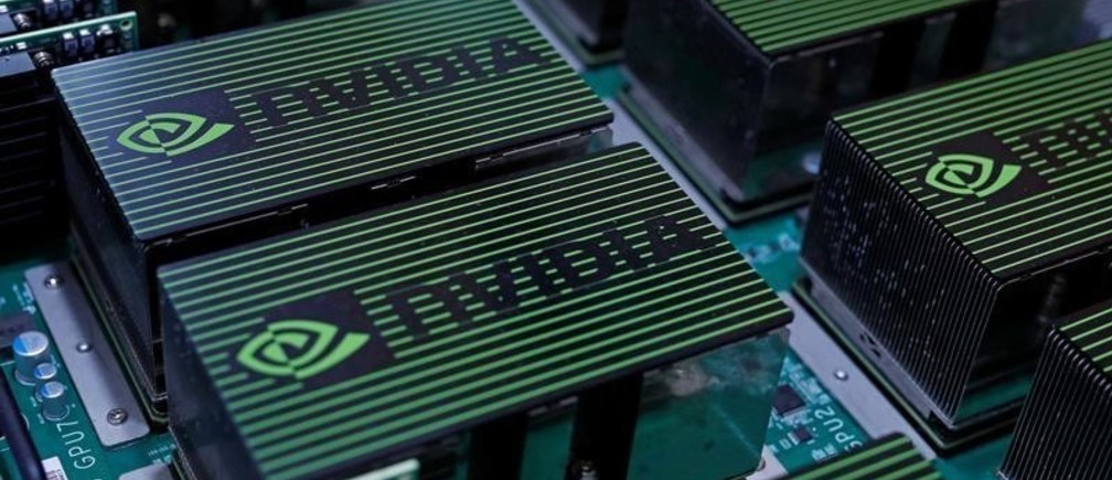 The logo of Nvidia Corporation is seen during the annual Computex computer exhibition in Taipei, Taiwan May 30, 2017. REUTERS/Tyrone Siu - RTX3872X