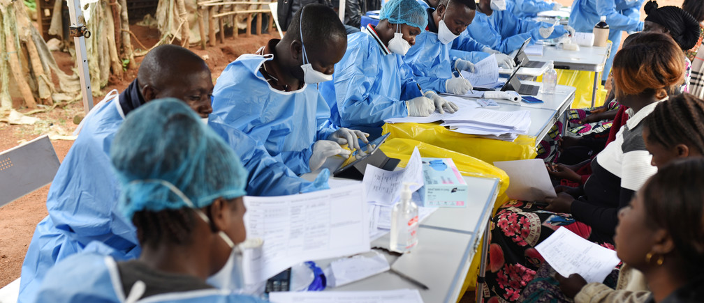 Congolese health workers register people prior to vaccination against Ebola in North Kivu province.