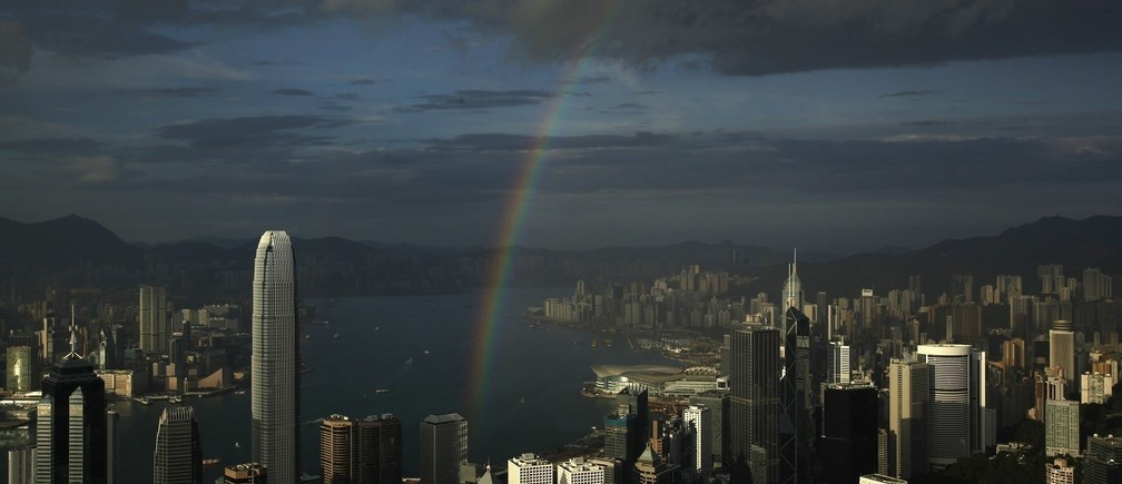 A rainbow arches over Hong Kong's Victoria Harbour June 19, 2012.