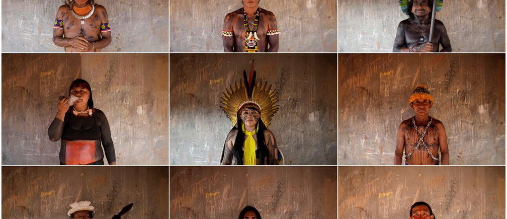 A combination photo shows indigenous people from various tribes posing for pictures during a four-day pow wow in Piaracu village, in Xingu Indigenous Park, near Sao Jose do Xingu, Mato Grosso state, Brazil January 15, 2020 and on January 16, 2020. Pictures taken January 15, 2020 and January 16, 2020. REUTERS/Ricardo Moraes - RC2WHE951RZ5
