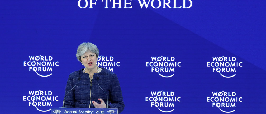Britain's Prime Minister Theresa May addresses a speech during the World Economic Forum (WEF) annual meeting in Davos, Switzerland January 25, 2018. REUTERS/Denis Balibouse - RC121D20EEB0