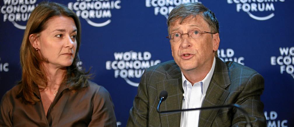Melinda French Gates y Bill Gates en Davos.