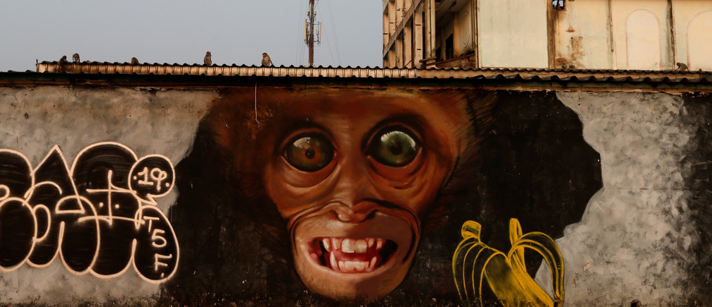 A mural depicting a monkey is pictured in front of Prang Sam Yod temple, following significant impact on tourism after the outbreak of coronavirus disease 2019 (COVID-19) spread, in Lopburi, Thailand, March 18, 2020. Picture taken March 18, 2020. REUTERS/Soe Zeya Tun - RC2NNF9TS6A4