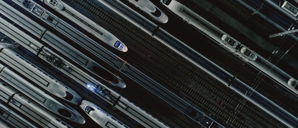 Bullet trains are seen at a high-speed train maintenance base before the Spring Festival travel rush kicks off ahead of Chinese Lunar New Year, in Guangzhou, Guangdong province, China January 18, 2019. REUTERS/Stringer  ATTENTION EDITORS - THIS IMAGE WAS PROVIDED BY A THIRD PARTY. CHINA OUT.     TPX IMAGES OF THE DAY - RC1F7DB10D70
