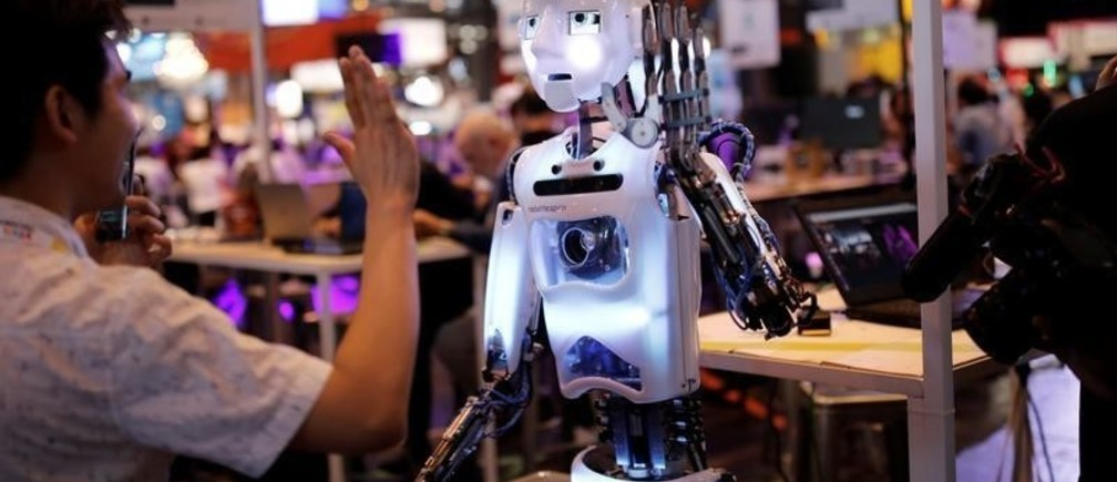 A 'RoboThespian' humanoid robot, manufactured by Engineered Arts, is on display at the Viva Technology conference in Paris, France, June 16, 2017. REUTERS/Benoit Tessier - RTS17DS0
