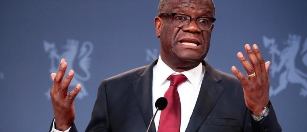 The Peace Prize laureate Dr. Denis Mukwege talks to the media during a news conference in Oslo, Norway December 11, 2018. NTB Scanpix/Lise Aserud via REUTERS   ATTENTION EDITORS - THIS IMAGE WAS PROVIDED BY A THIRD PARTY. NORWAY OUT. NO COMMERCIAL OR EDITORIAL SALES IN NORWAY. - RC1D737E76E0