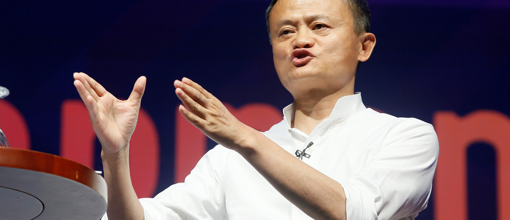 Alibaba Group co-founder and Executive Chairman Jack Ma gestures during a seminar at the International Monetary Fund - World Bank Annual Meeting 2018 in Nusa Dua, Bali, Indonesia, October 12, 2018. REUTERS/Johannes P. Christo - RC1EB9688030