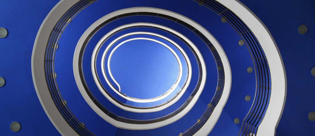 A staircase looking like a snail is pictured in a Munich building 'Haus der Bayrischen Wirtschaft' on February 14, 2012.