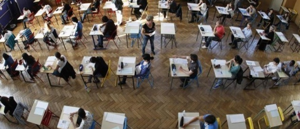 Students sit for an exam at the French Louis Pasteur Lycee in Strasbourg, June 18, 2012