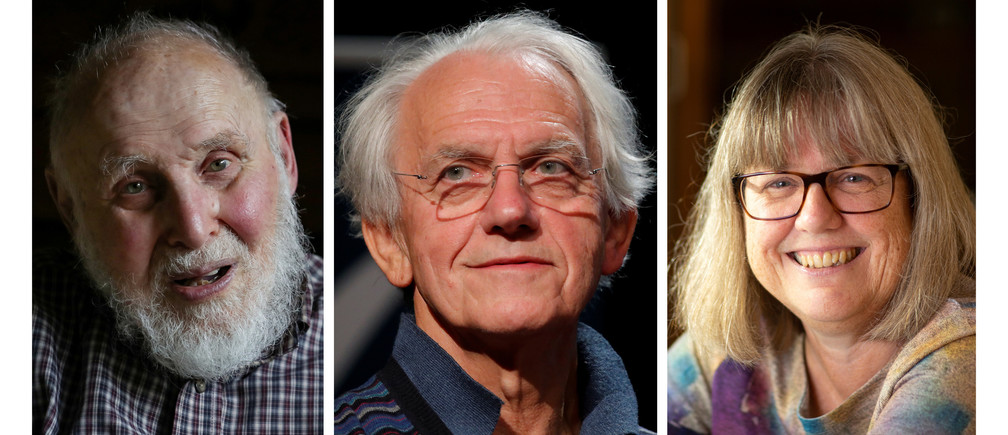 A combination picture shows the Nobel Prize for Physics 2018 award winners (L-R) Arthur Ashkin of the U.S., Gerard Mourou of France and Donna Strickland of Canada, October 2, 2018. REUTERS/Brendan McDermid/Charles Platiau/Peter Power