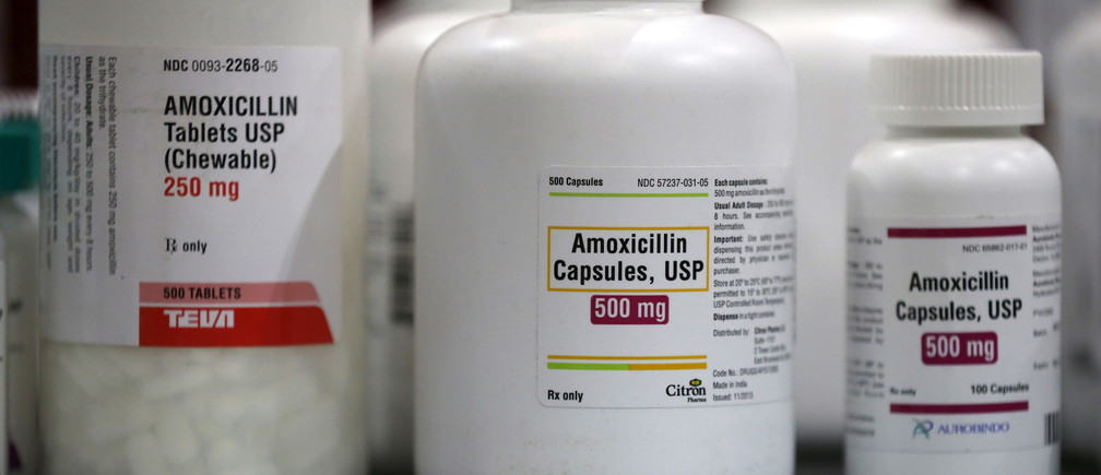 Amoxicillin penicillin antibiotics are seen in the pharmacy at a free medical and dental health clinic in Los Angeles, California, U.S., April 27, 2016. REUTERS/Lucy Nicholson - GF10000398055