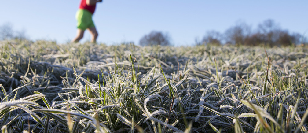 A man runs through a frost covered field in Hampstead Heath in north London December 29, 2014. Last night, temperatures in Britain fell to their lowest recorded levels of the year, local media reported, REUTERS/Neil Hall