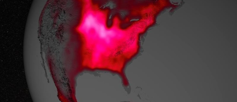 A red glow representing fluorescence measured from land plants in the U.S. Corn Belt in early July, over a period from 2007 to 2011, is seen in this undated NASA handout visualization released March 31, 2014. Data from satellite sensors show that during the Northern Hemisphere's growing season, the Midwest region of the United States boasts more photosynthetic activity than any other spot on Earth, according to NASA and university scientists.