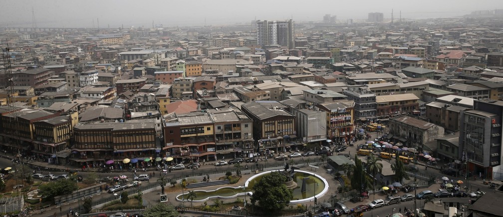 A view of the central business district is seen from a roof-top in Lagos, Nigeria February 10, 2016.
