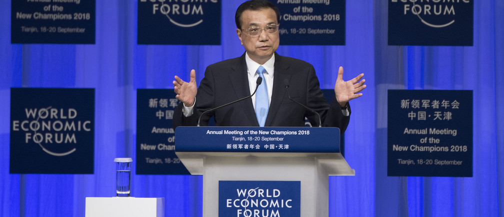 Li Keqiang, Premier of the People's Republic of China .speaking during the session: Opening Plenary with Li Keqiang at the World Economic Forum - Annual Meeting of the New Champions in Tianjin, People's Republic of China 2018 Copyright by World Economic Forum / Valeriano Di Domenico