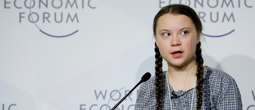 16-year old Swedish environmental activist Greta Thunberg takes part in a panel discussion during the World Economic Forum (WEF) annual meeting in Davos, Switzerland, January 25, 2019. REUTERS/Arnd Wiegmann - RC137183C260