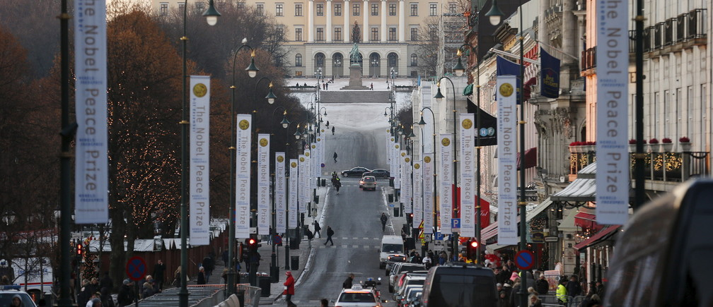 The Royal Palace is seen at the end of Karl Johans Gate in Oslo, Norway, in this December 11, 2012 file photo. REUTERS/Suzanne Plunkett/Files - RTX29MFW