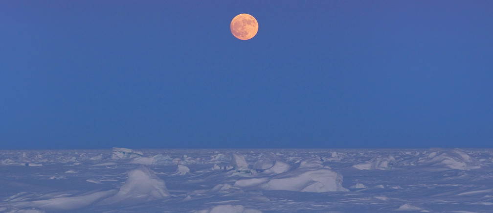 The moon rises over Arctic ice near the 2011 Applied Physics Laboratory Ice Station north of Prudhoe Bay, Alaska March 18, 2011.  Picture taken March 18. REUTERS/Lucas Jackson (UNITED STATES - Tags: ENVIRONMENT) - GM1E73L0ZFY01