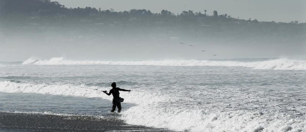 A man casts his line into the waves as he fishes along the shores of Torrey Pines State Beach in San Diego, California, January 24, 2011.  REUTERS/Mike Blake   (UNITED STATES - Tags: ENVIRONMENT) - GM1E71P09JY01