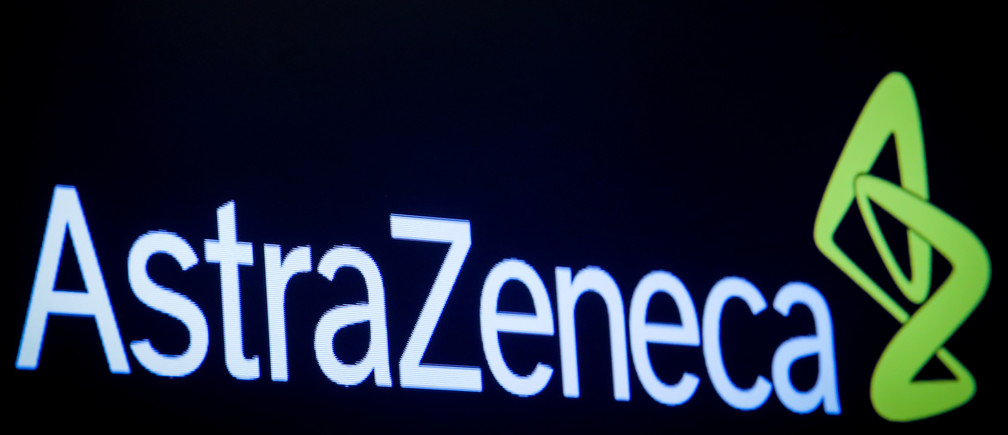 The company logo for pharmaceutical company AstraZeneca is displayed on a screen on the floor at the New York Stock Exchange (NYSE) in New York, U.S., April 8, 2019. REUTERS/Brendan McDermid - RC12595D5960