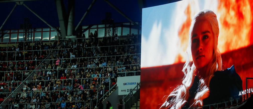 The character Daenerys Targaryen is seen on an advertisement screen before the screening of the final episode of Game of Thrones on a 20-meter-high screen at RZD Arena in Moscow, Russia May 20, 2019. REUTERS/Maxim Shemetov