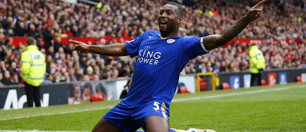 Leicester City's Wes Morgan celebrates scoring their first goal against Manchester United.
