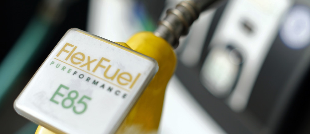 The fuel nozzle from a flex fuel pump is shown in this illustration photograph taken at a filling station in San Diego, California January 8, 2015.