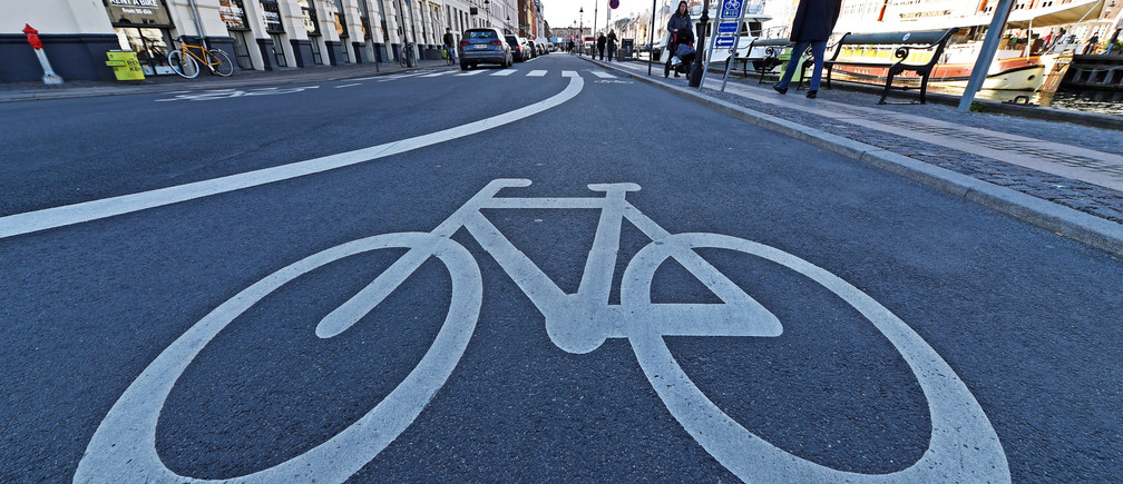 A street only for cyclists or so called bike street is pictured near by famous landmark Nyhavn in Copenhagen, Denmark April 18, 2017.  REUTERS/Fabian Bimmer