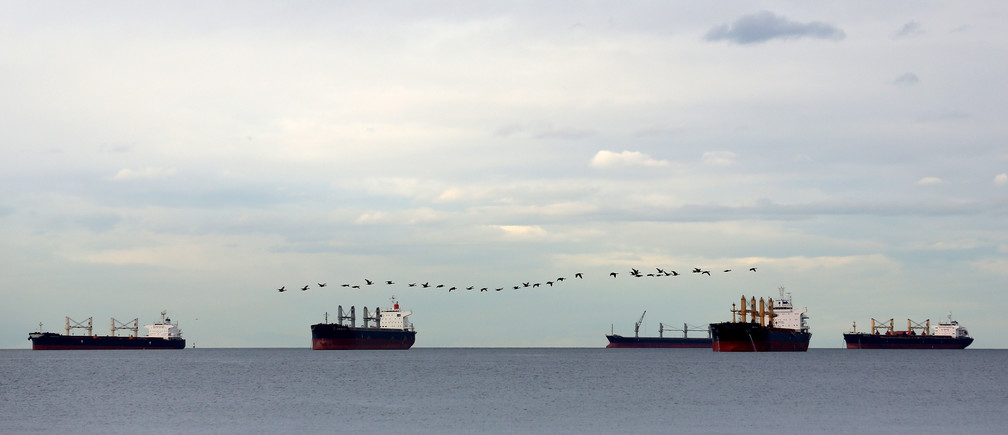 A flock of birds flies over cargo ships at anchor in English Bay, outside the Port of Vancouver, British Columbia, Canada November 19, 2016. REUTERS/Chris Helgren - TM3ECBS0WRE01