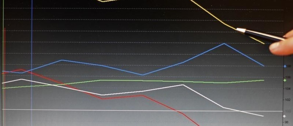 Journalists point to a graph showing the last eight days of the stock market indexes of PSI-20 (red), IBEX 35 (yellow), CAC 40 (white), Dow Jones (green) and Nikkei (blue) at the stock exchange in Lisbon April 28, 2010. Rating agency Standard and Poor's slashed Greek debt to junk status on Tuesday and also downgraded Portugal, as investors worried political pressures could block a multi-billion euro bailout of Greece.   REUTERS/Jose Manuel Ribeiro (PORTUGAL - Tags: BUSINESS POLITICS) - GM1E64T086J01