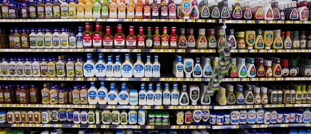 Salad dressings are displayed at a Walmart store in Secaucus, New Jersey, November 11, 2015. REUTERS/Lucas Jackson - GF20000055697
