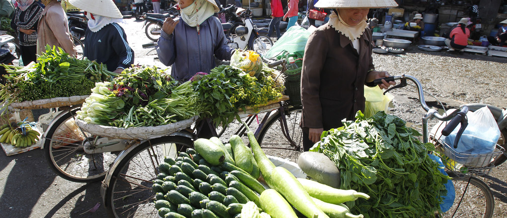 Vegetable sellers wait for customers at a market in Bao Loc city, near Vietnam's southern commercial hub Ho Chi Minh city February 23, 2011.